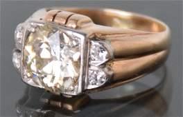 Gents 14K Two Tone Diamond Ring