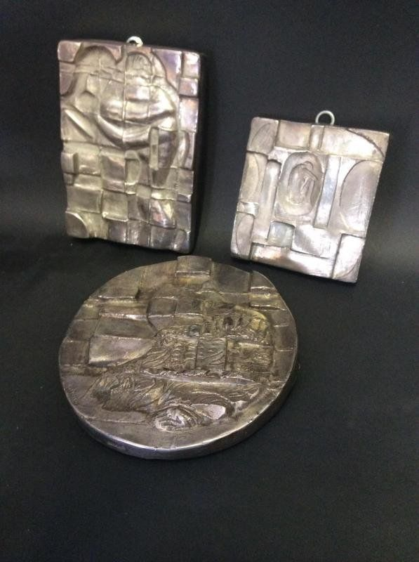 Henryk Winograd 3 Pure Silver Sculpted Plaques