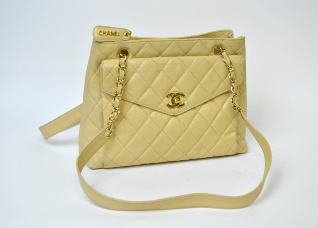 Coco Chanel Beige Quilted Leather Handbag