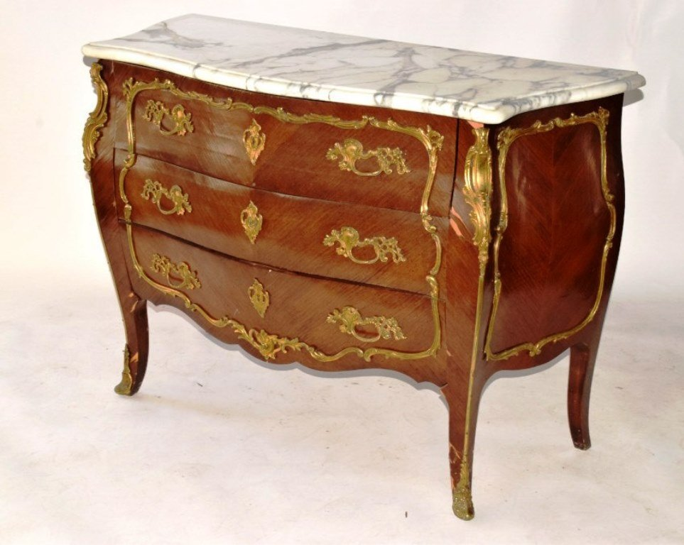 Marble Top Louis XV Style Bombe Chest of Drawers