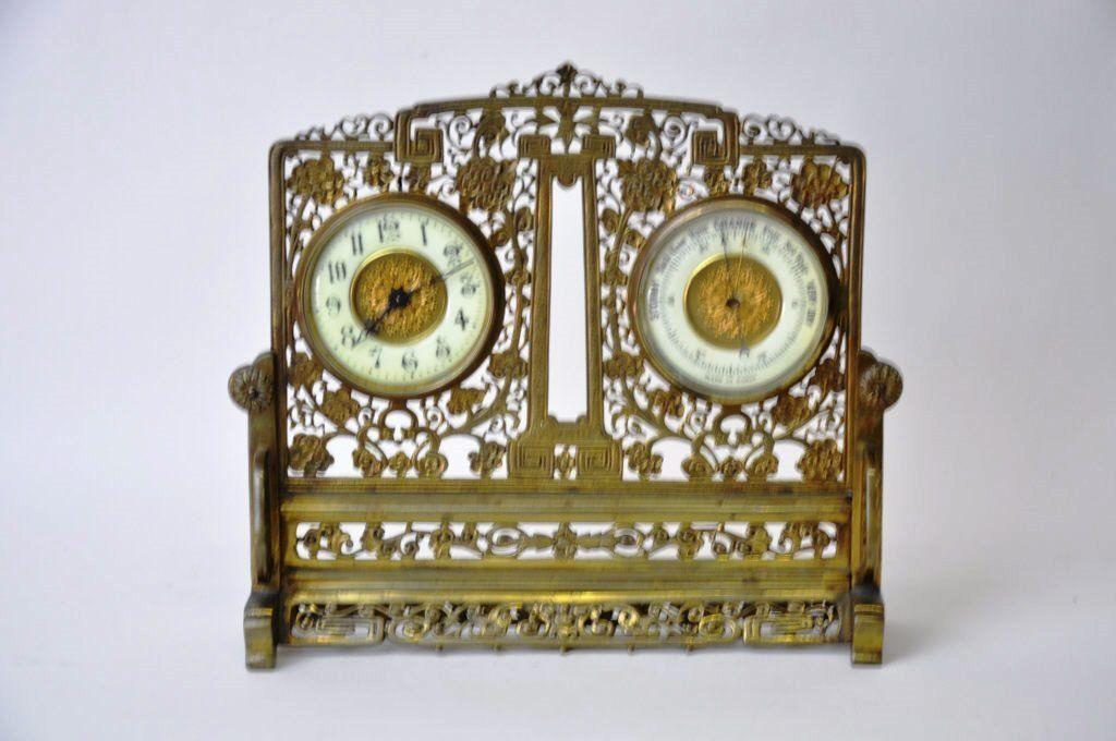 French Bronze Barometer Clock in Oriental Motif