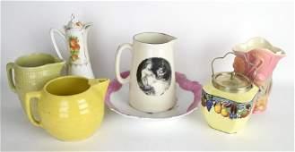 Group 7 Pcs Porcelain Pitchers, Dish, Jar, Vase
