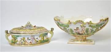 2 Pieces Capodimonte Porcelain Bowl Box