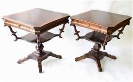 Pair Mahogany Regency Pedestal Tables