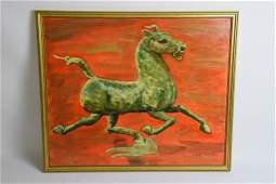 JJ Booth Orange Horse Painting