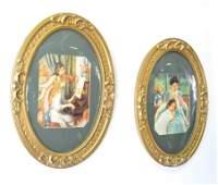 Pr. Gilt Framed Oval Prints