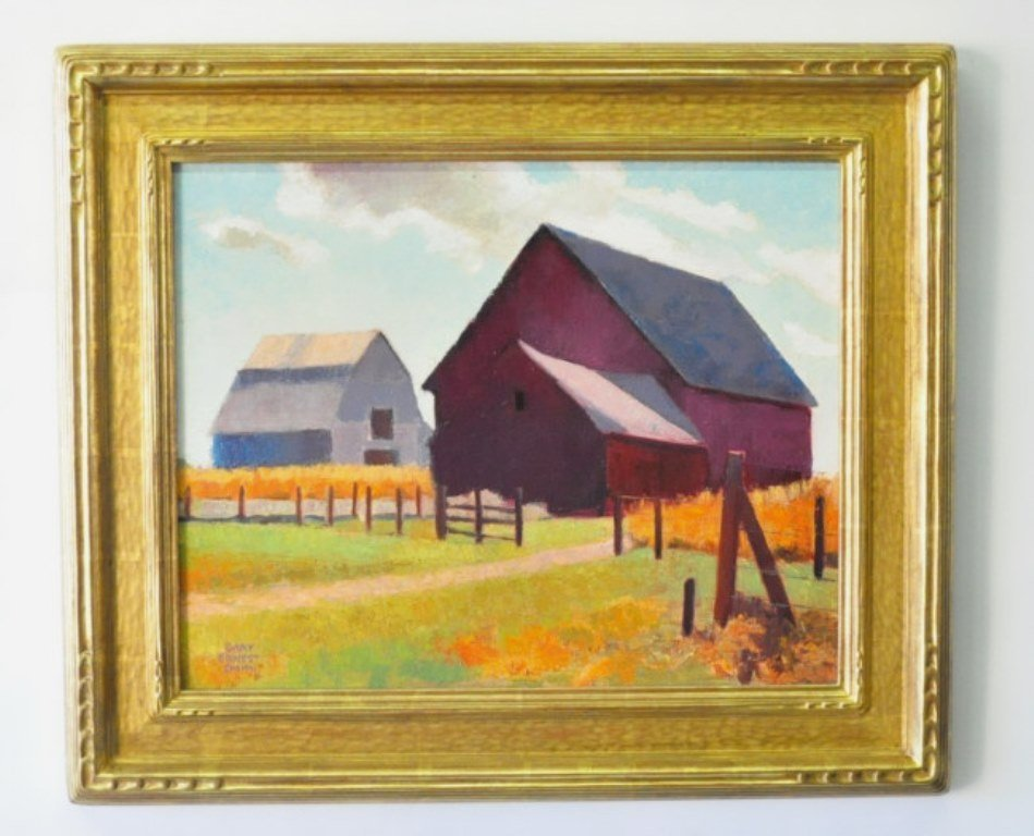 Gary Ernest Smith (1942-) Red Barn, Grey Barn