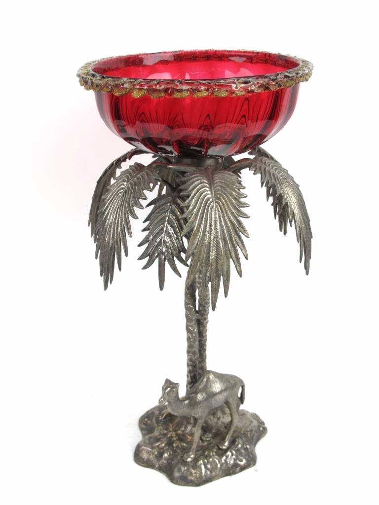 Egyptian Revival Silver Plate and Glass Compote