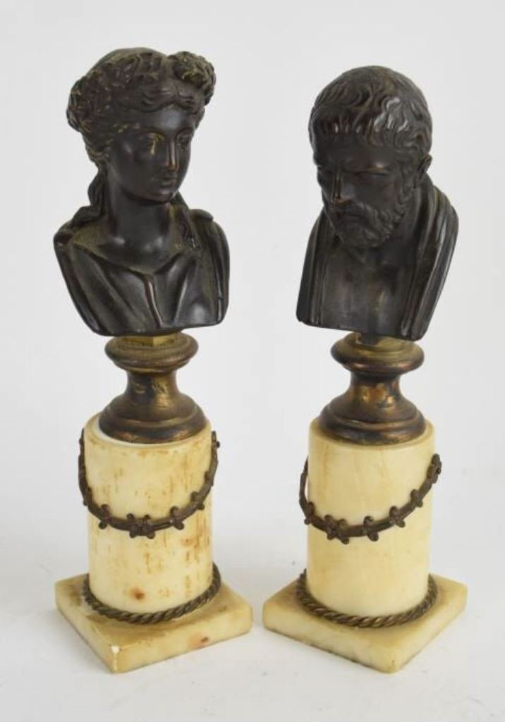 Pair Bronze Busts on Marble Bases