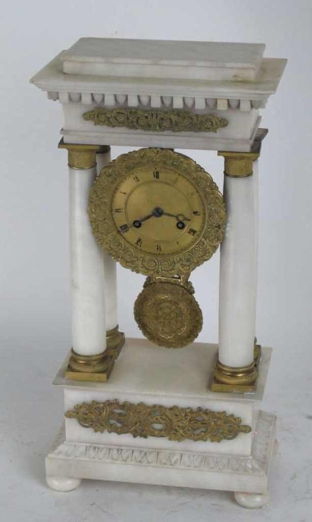 French Empire Alabaster Portico Clock