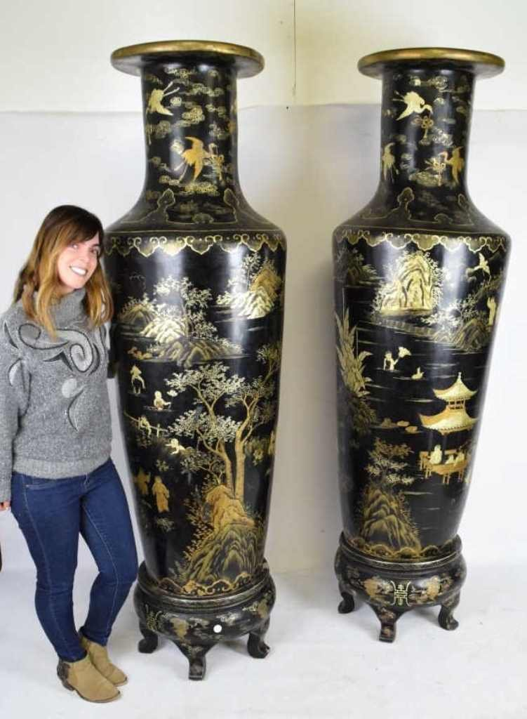 Pair Monumental Chinese Black Lacquer Vases