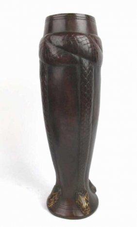 Christofle Bronze Vase Aux Serpents