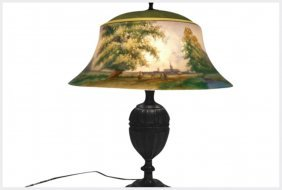Pairpoint Table Lamp With Reverse Painted Shade