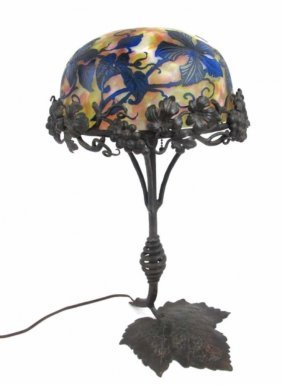 French Cameo Glass & Wrought Iron Table Lamp