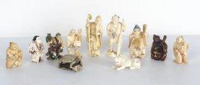 Group 11 Chinese Carved Ivory Netsuke Figurines