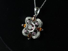 Diamond, Pink Tourmaline, Sapphire, Spinel Pendant