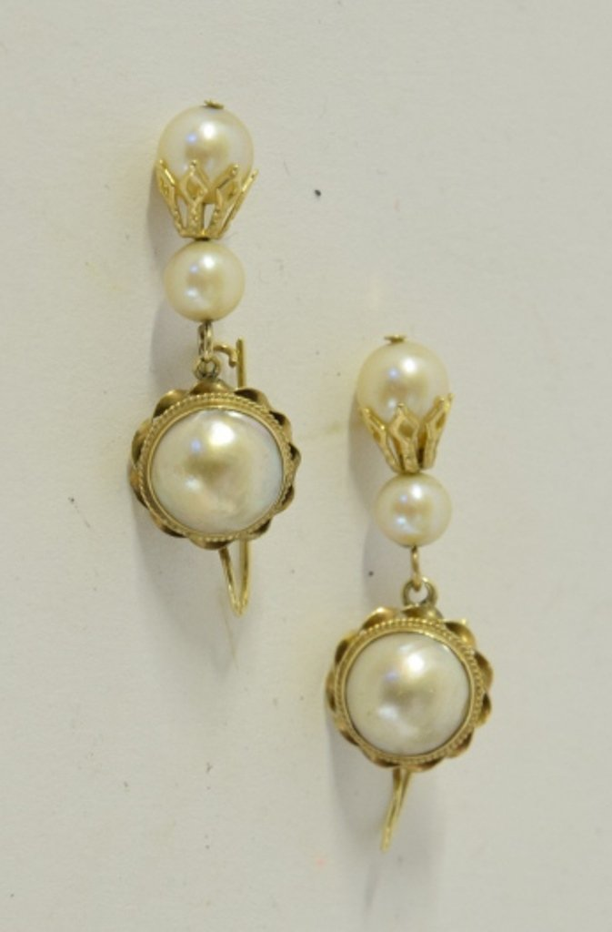 Pair Antique 14k Yellow Gold and Pearl Earrings