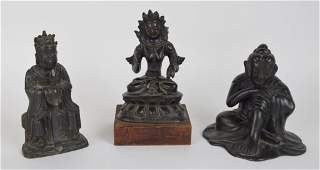 Group 3 Antique Bronze Buddhist Figures