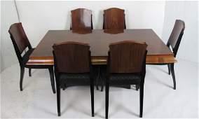 Set 7 Art Deco Rosewood Ebonized Dining Set