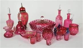 Group 17 Pcs Victorian Cranberry Glassware