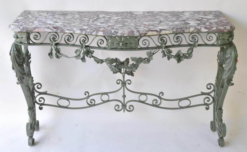 marble top wrought iron console table
