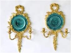19th C. Gilt Bronze Sconces with Majolica Inserts