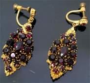 Pair of Victorian Garnet Earrings
