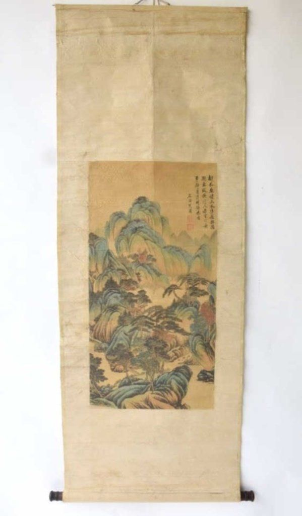 Chinese Ink and Watercolor on Silk Hanging Scroll