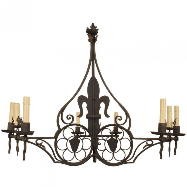Baroque Style Nine Light Wrought Iron Chandelier