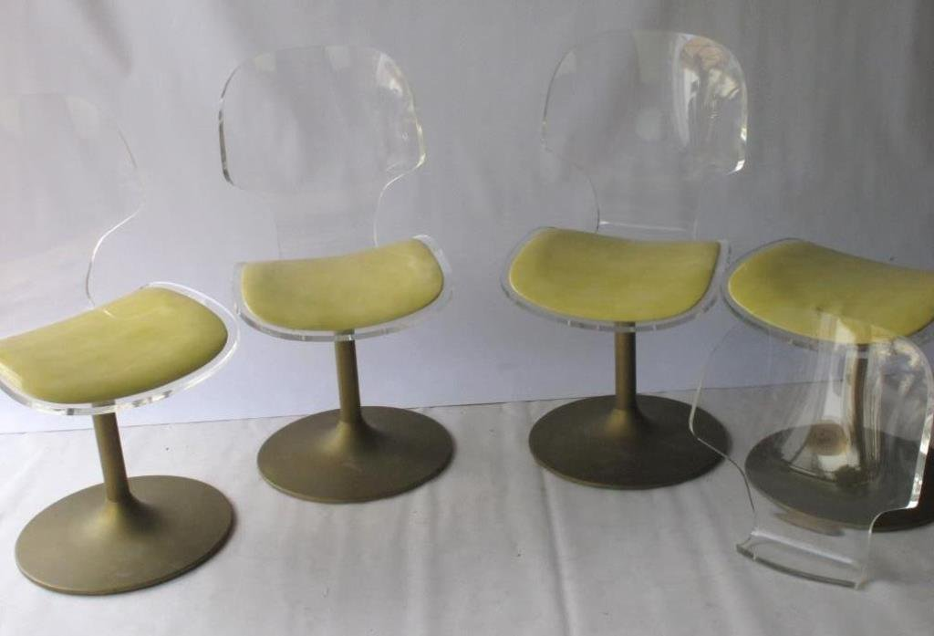 Set of Lucite and Metal Modern Pedestal Chairs