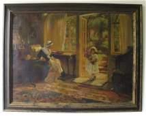 19th Century Continental School Oil on Canvas