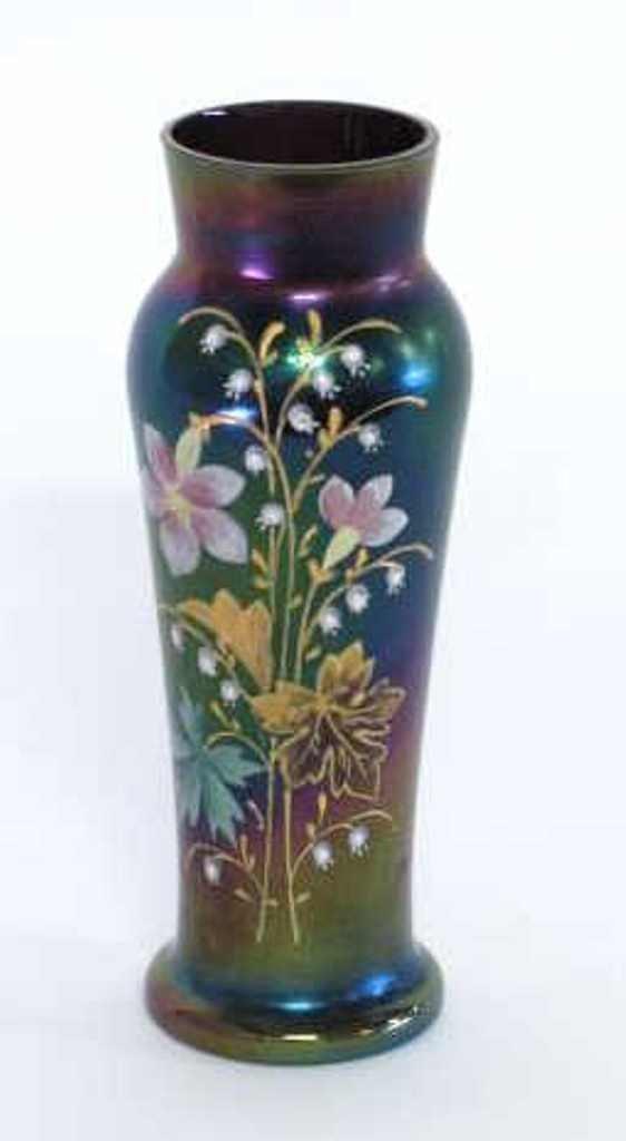 Loetz Austria Enameled Floral Vase