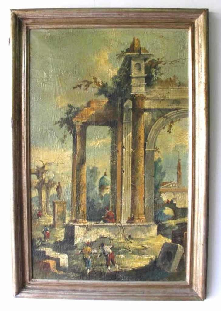Oil on Canvas of A Capriccio of Ruined Buildings