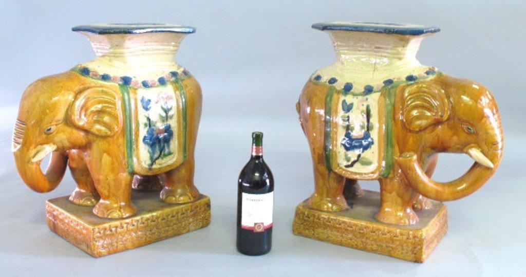 Ceramic Elephant Garden Stool Pair - 10