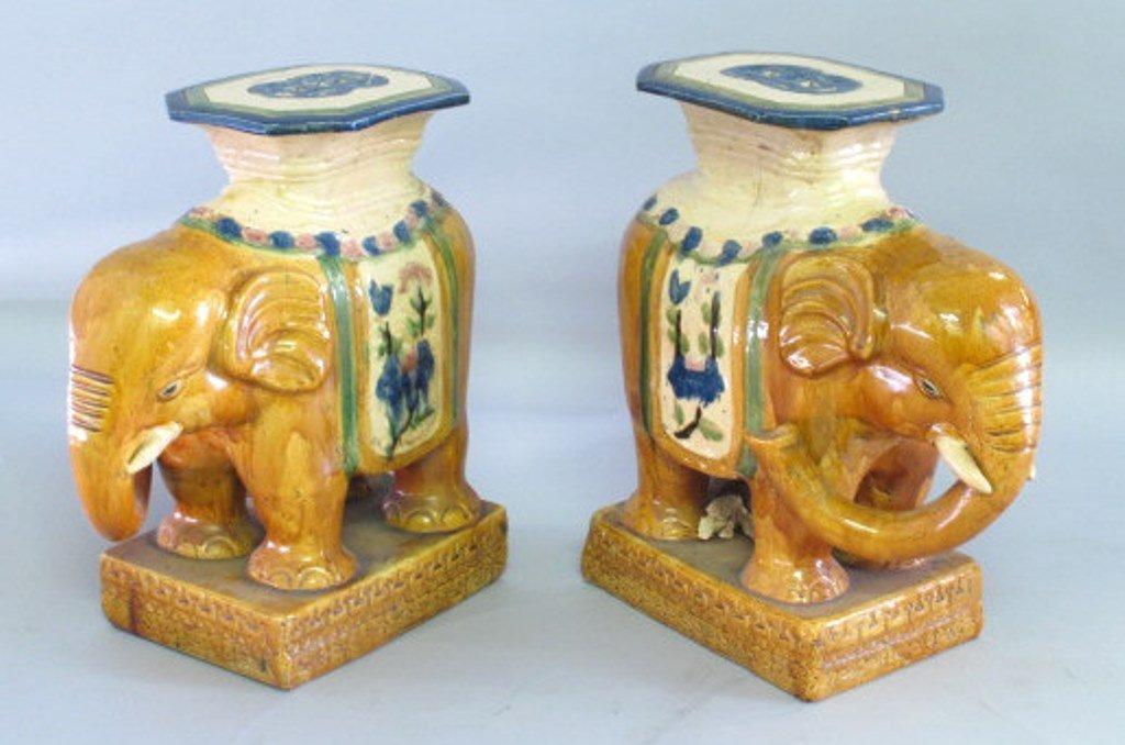 Ceramic Elephant Garden Stool Pair