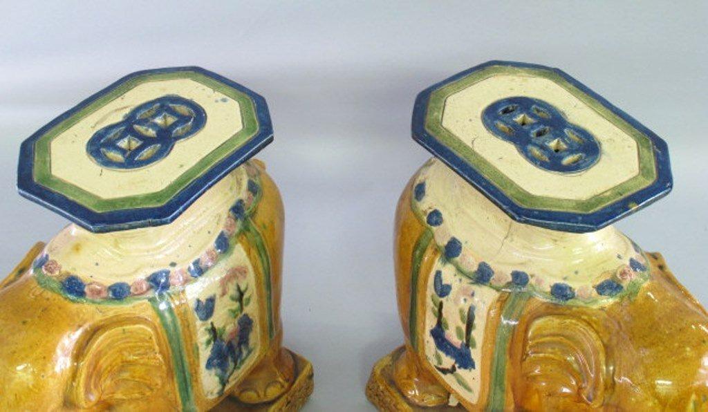 Ceramic Elephant Garden Stool Pair - 2