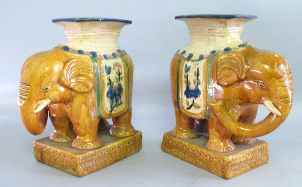 Ceramic Elephant Garden Stool Pair - 3