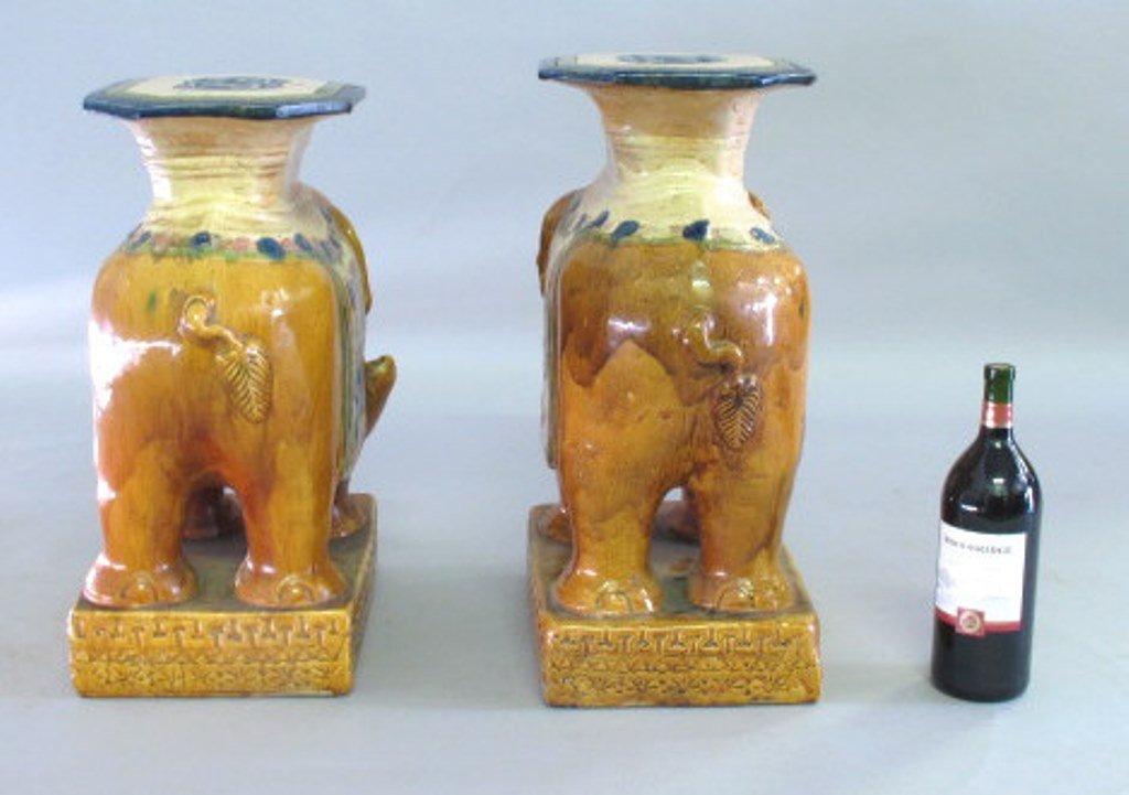 Ceramic Elephant Garden Stool Pair - 9