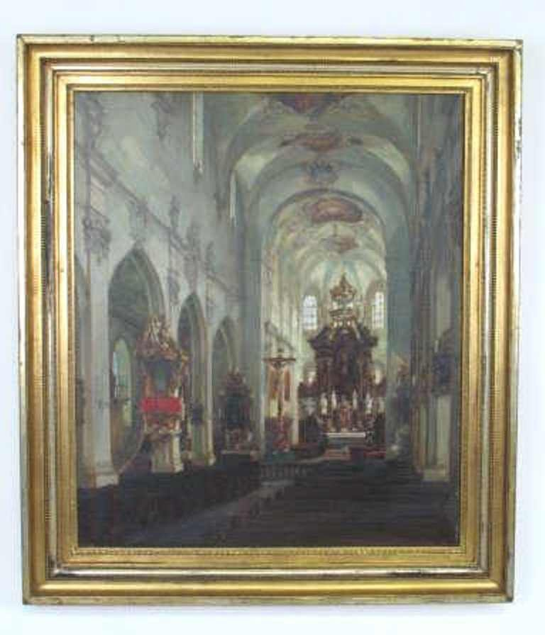 Oil on Canvas of Rococo Style Church