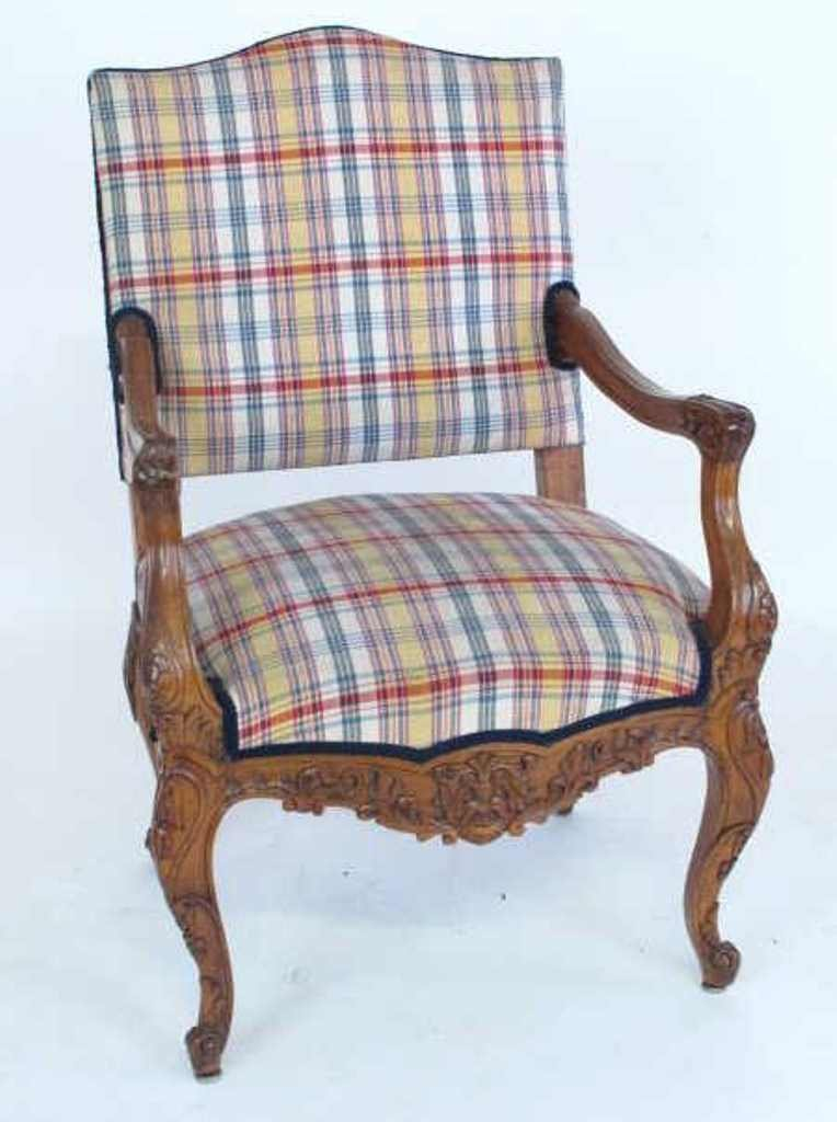 Plaid Upholstered Armchair