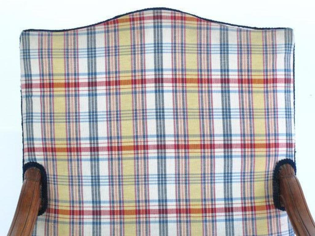 Plaid Upholstered Armchair - 2