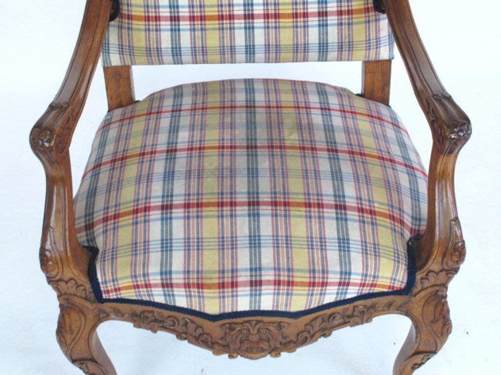 Plaid Upholstered Armchair - 3