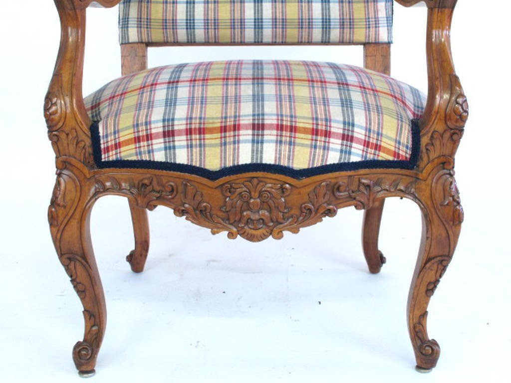 Plaid Upholstered Armchair - 4