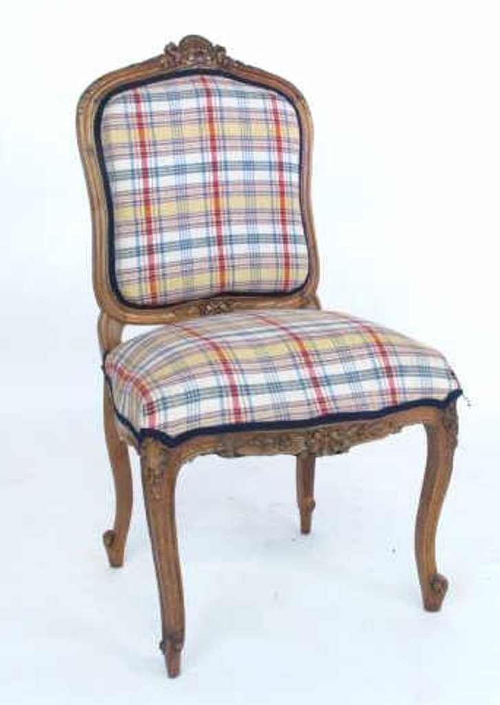 Plaid Upholstered Side Chair
