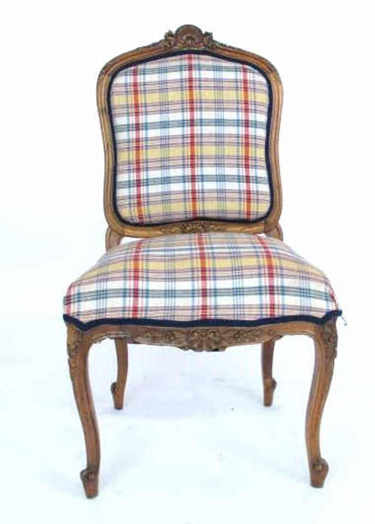 Plaid Upholstered Side Chair - 2
