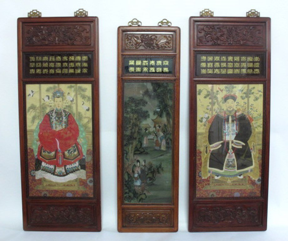 Trio of Japanese Carved and Painted Panels
