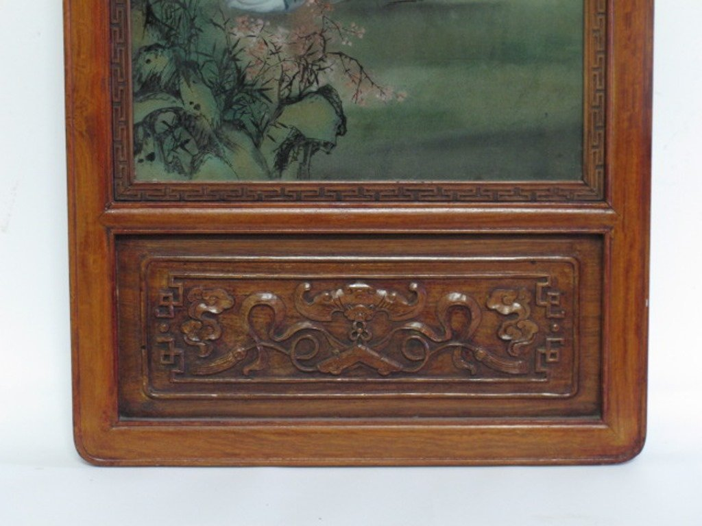 Trio of Japanese Carved and Painted Panels - 9