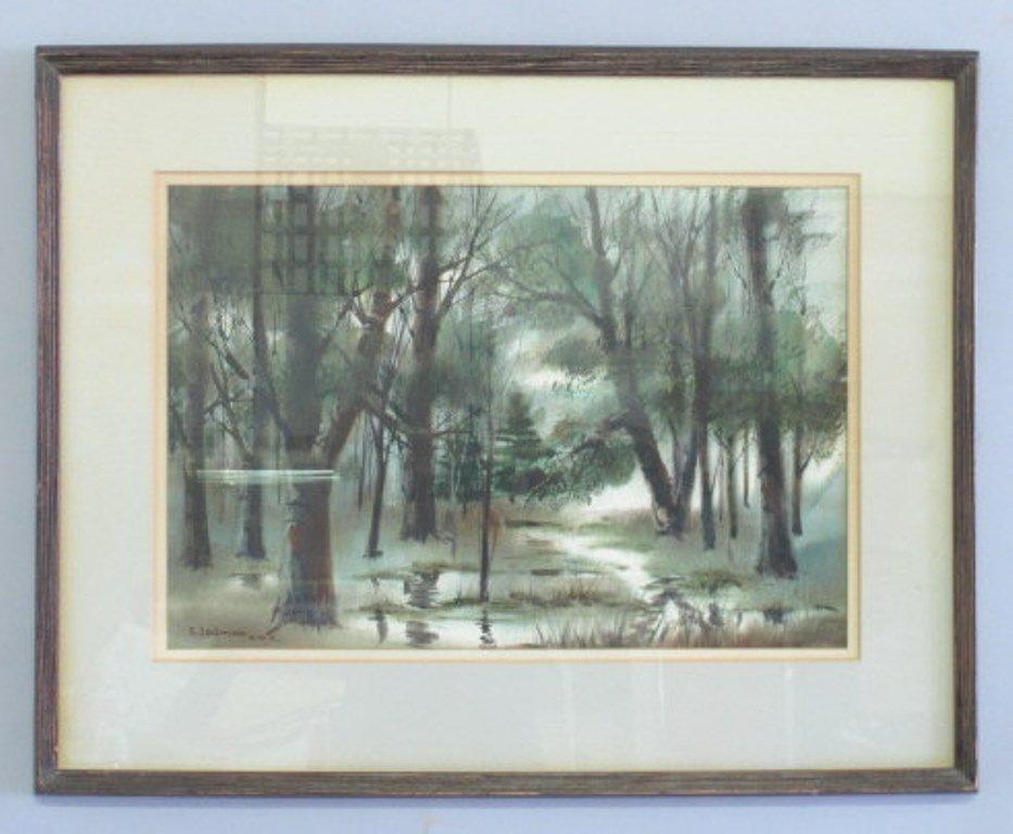 Samuel Leitman (1908-1981) Watercolor