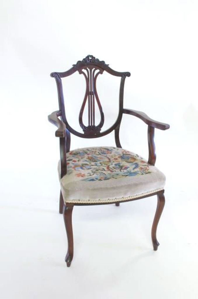 Antique Needlepoint Upholstered Armchair