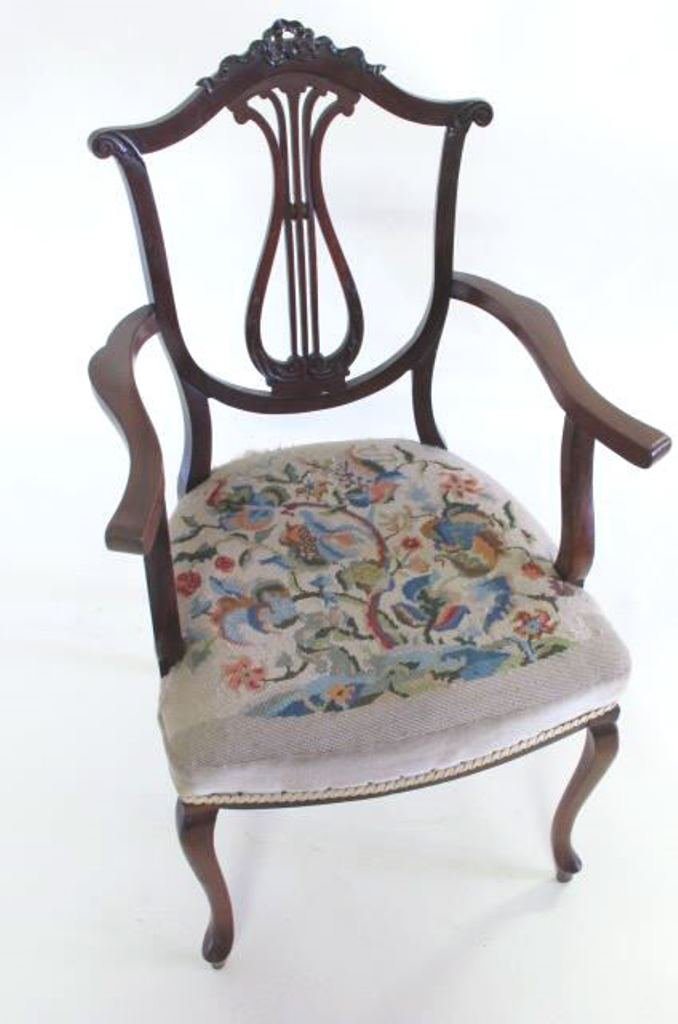 Antique Needlepoint Upholstered Armchair - 2